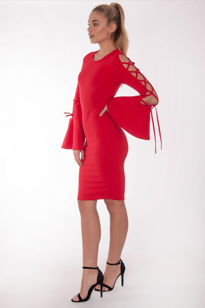 Katy Red Lace Up Flared Sleeved Dress