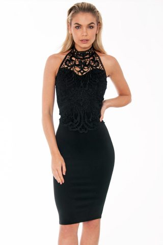 Black Halterneck Lace Front Midi Dress