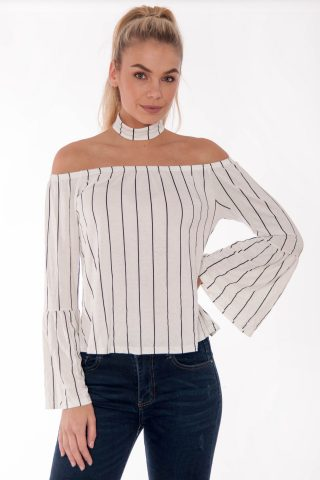Abby White Off The Shoulder Striped Flute Sleeve Top