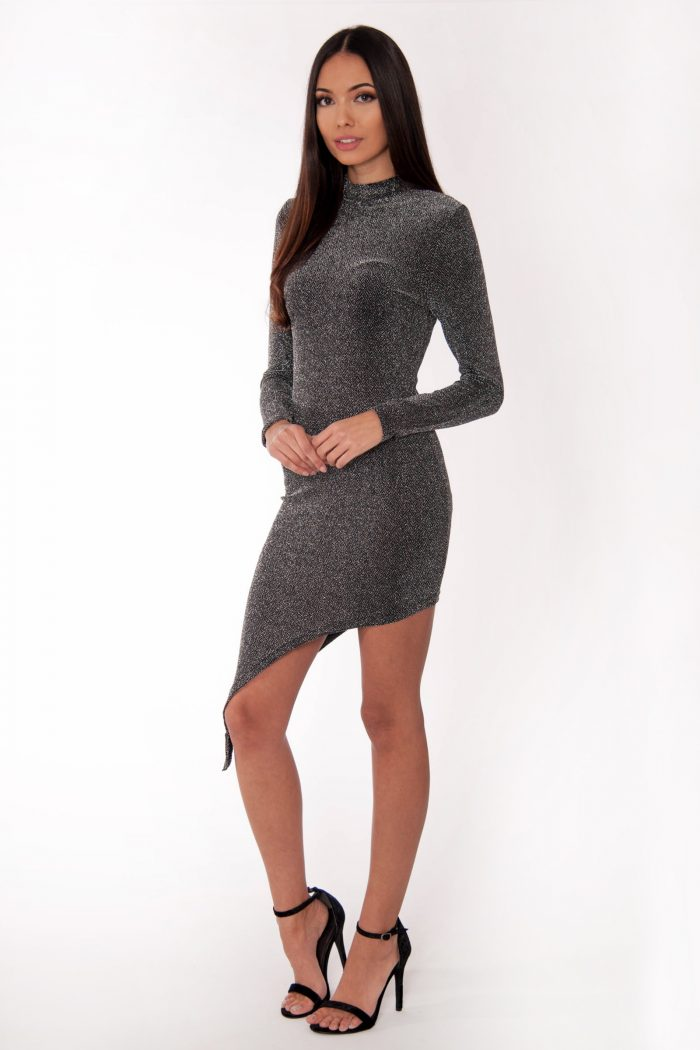 Sarah Silver Asymmetric Long Sleeve Bodycon Dress