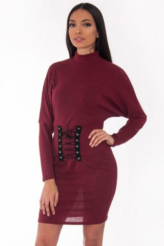 Leona Wine Ribbed Polo Neck Corset Bodycon Dress