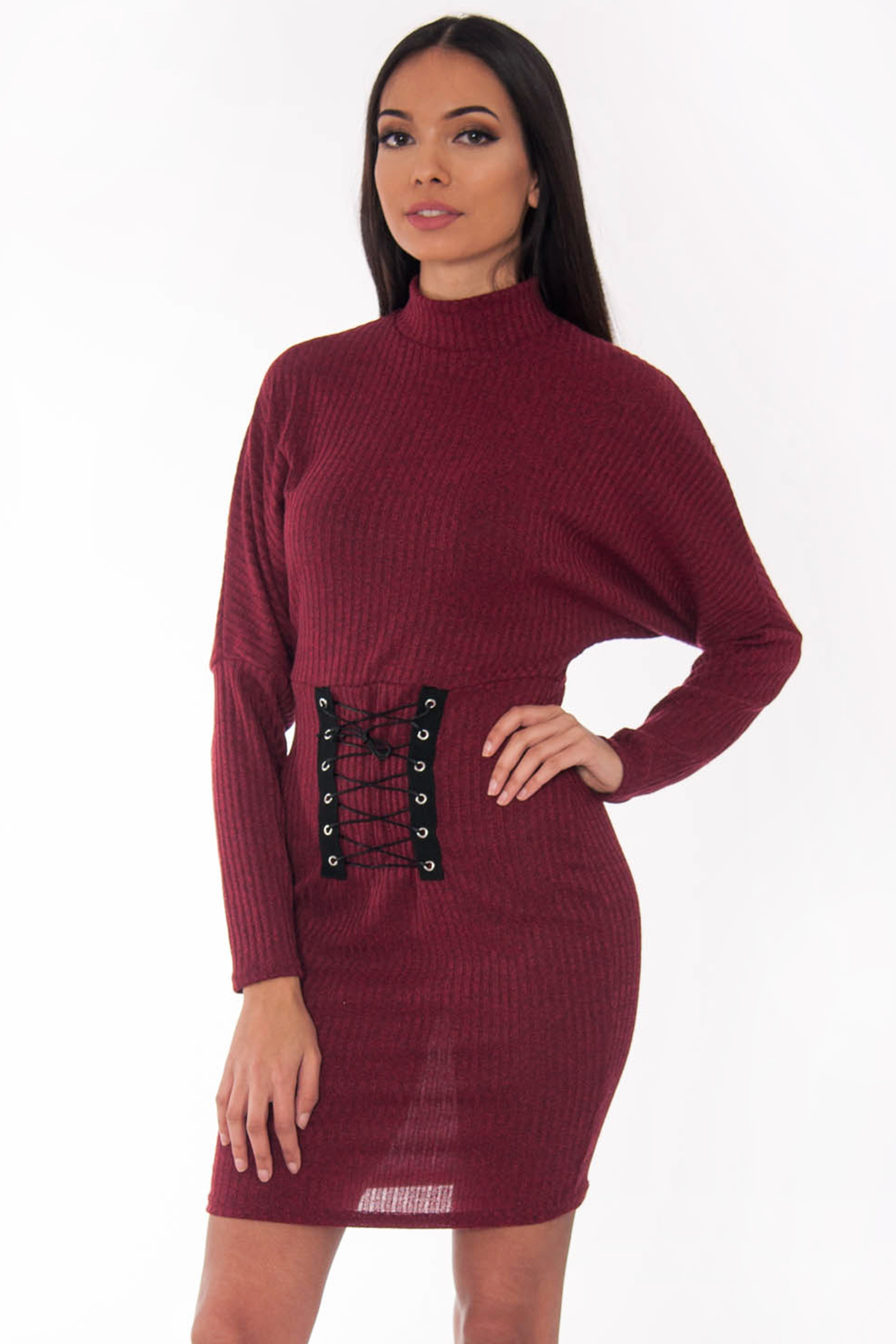 7bdee76e797c Wine Ribbed Polo Neck Corset Bodycon Dress | Dress | Modamore