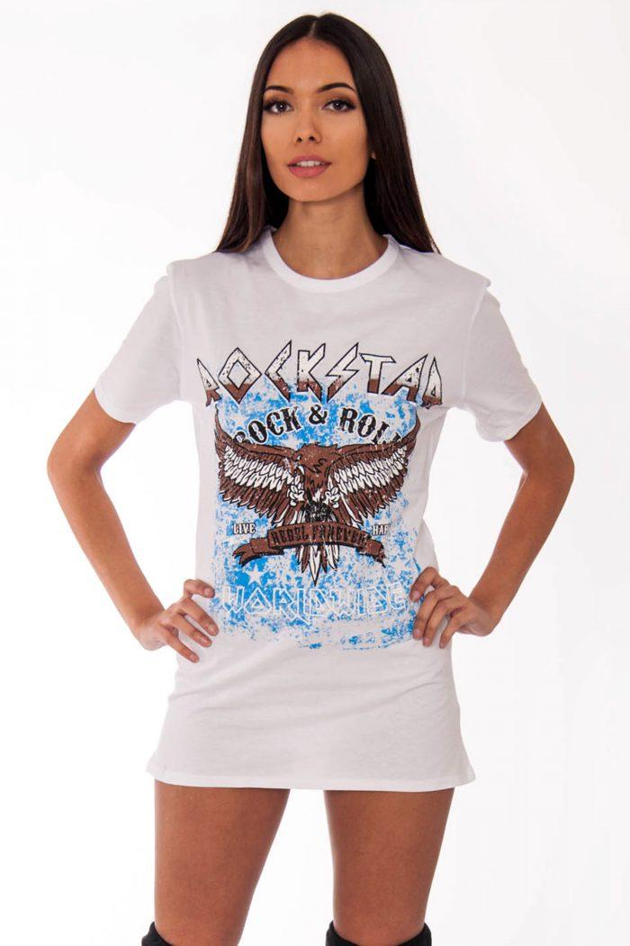 Remi White Rockstar Slogan T-Shirt