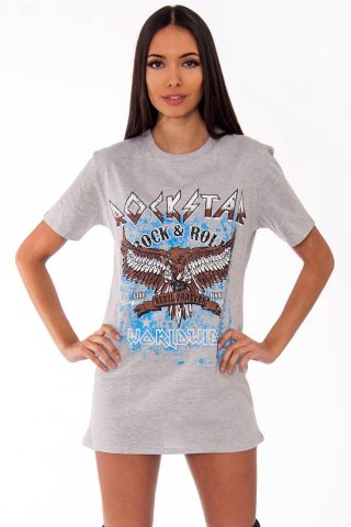 Remi Grey Rockstar Slogan T-Shirt