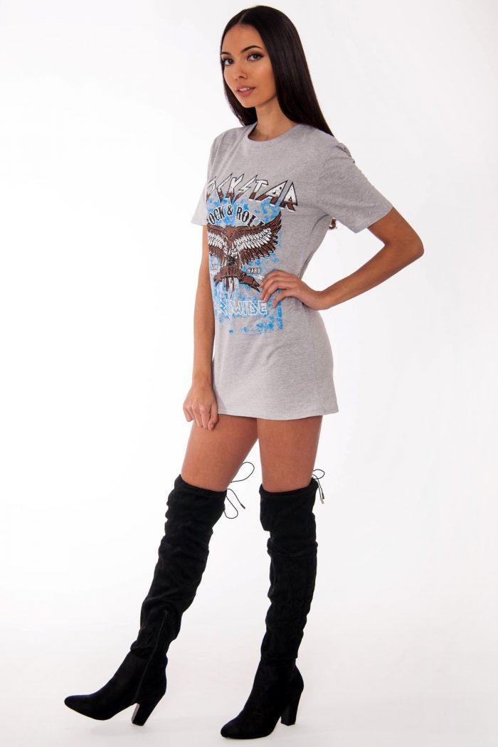 Remi Grey Rockstar Slogan T-Shirt