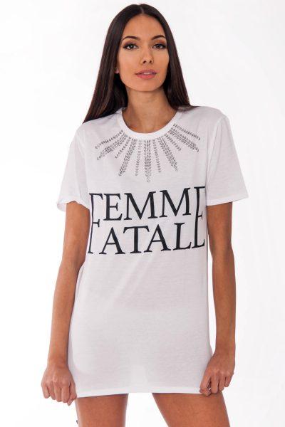 Remi White Femme Fatale Slogan T-Shirt