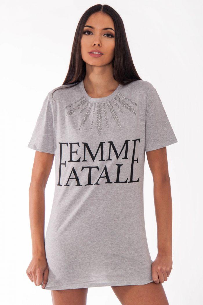 Remi Grey Femme Fatale Slogan T-Shirt