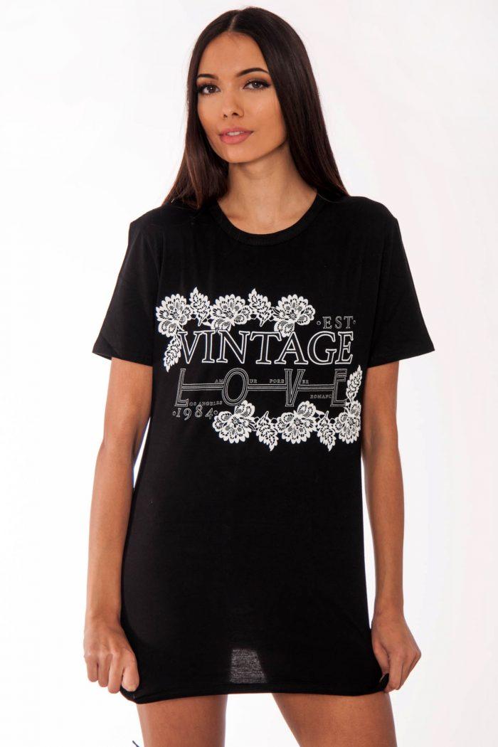 Remi Black Vintage Love Slogan T-Shirt