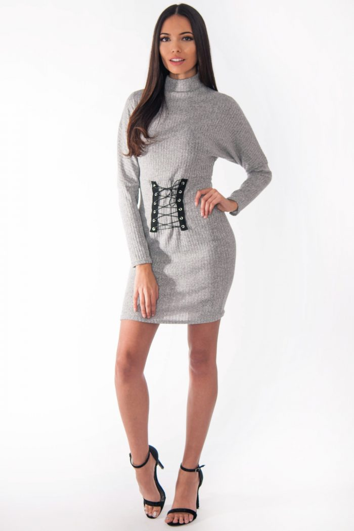 Leona Grey Ribbed Polo Neck Corset Bodycon Dress