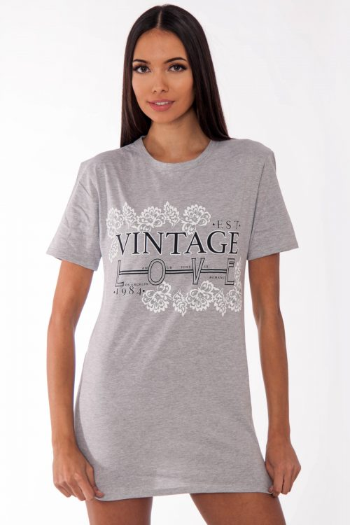 Remi Grey Vintage Love Slogan T-Shirt