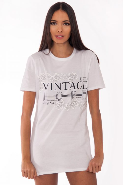 Remi White Vintage Love Slogan T-Shirt