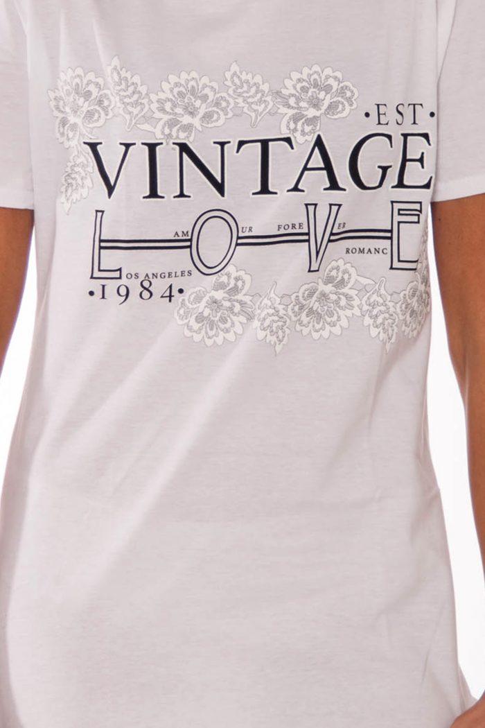Remi White Vintage Love Slogan T-Shirt