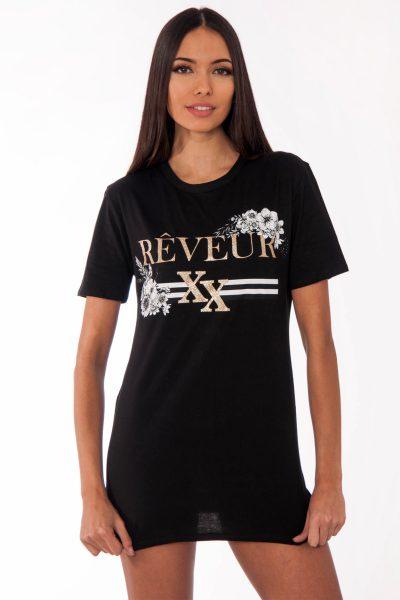 Remi Black Reveur Slogan T-Shirt