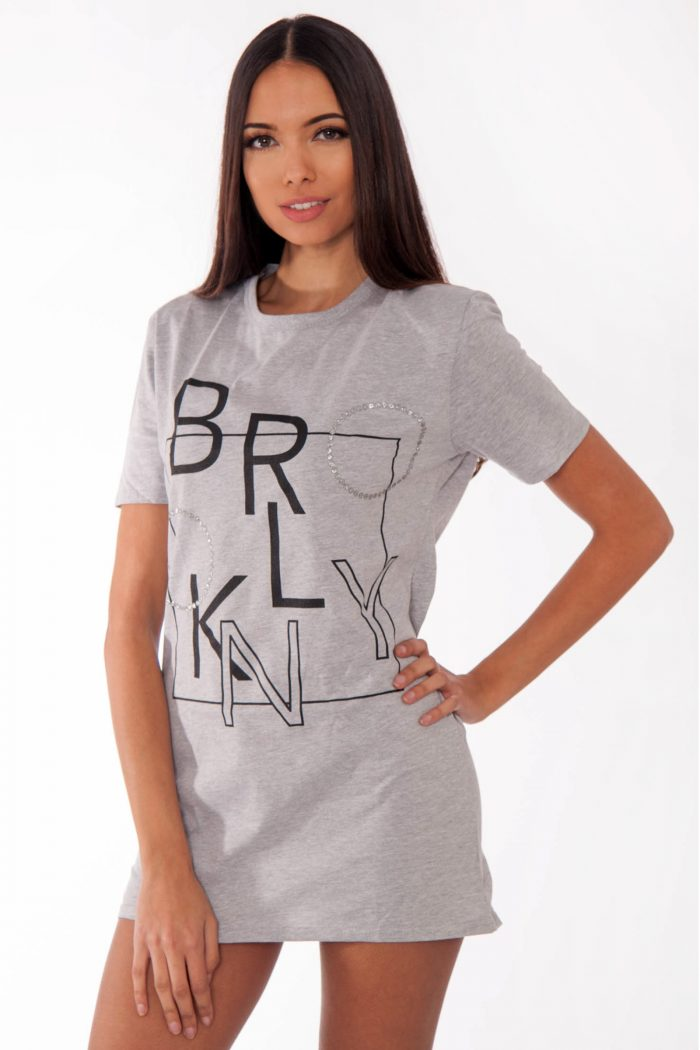 Remi Grey Brooklyn Slogan T-Shirt