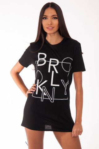 Remi Black Brooklyn Slogan T-Shirt