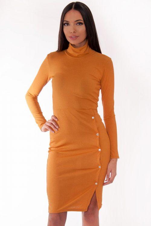 Ren Mustard Ribbed High Neck Popper Detail Midi Dress