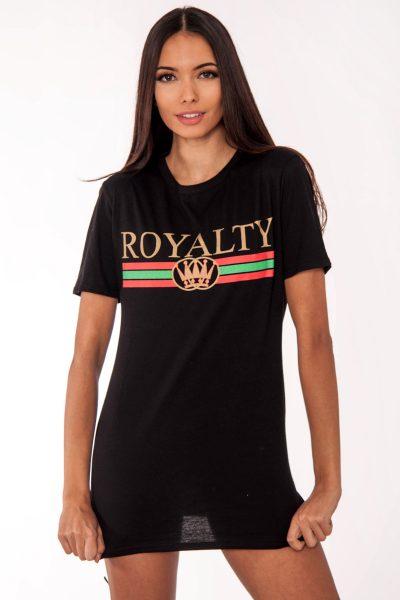 Remi Black Royalty Slogan T-Shirt