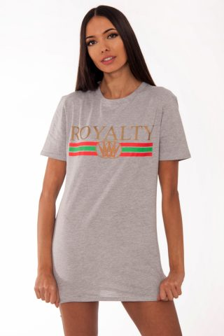 Remi Grey Royalty Slogan T-Shirt