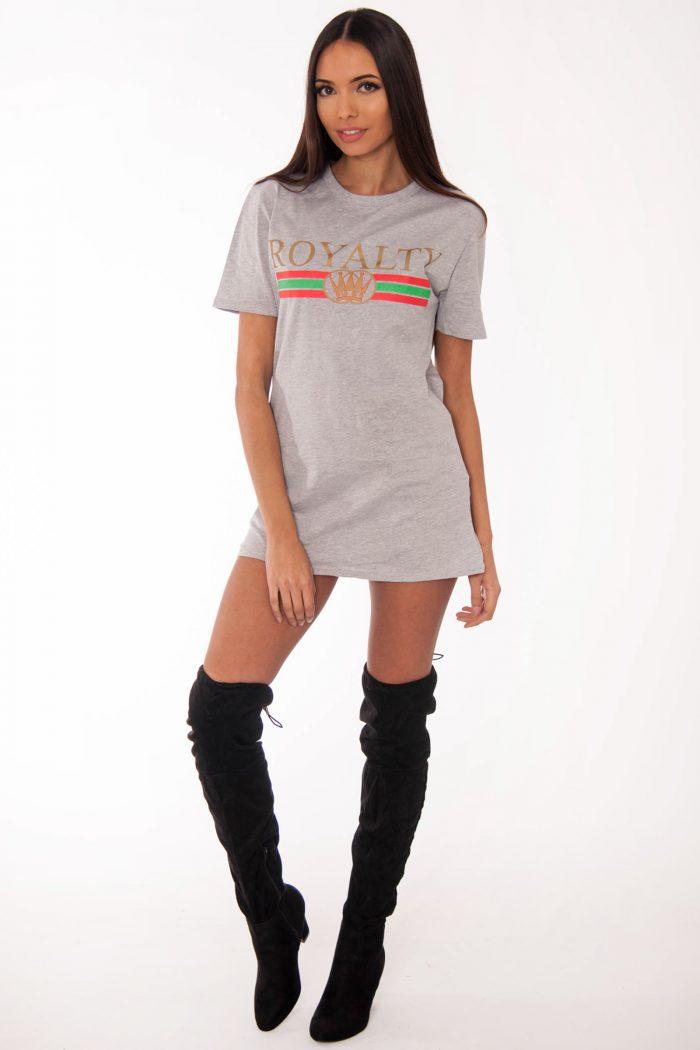 Remi Grey Royalty Slogan T-Shirt