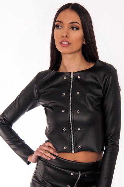 Roxy Black Faux Leather Eyelet Detail Jacket