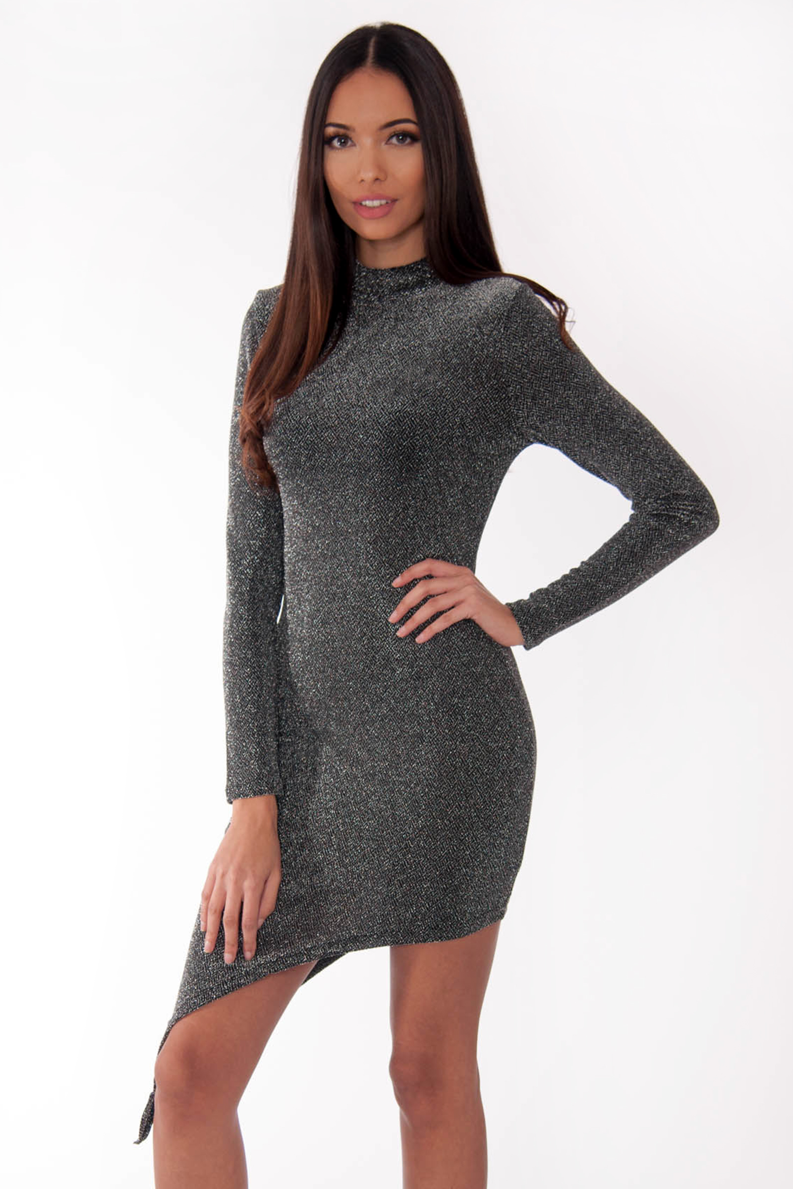 d7324f41466b Product Details: Silver High Neck Asymmetric Lurex Bodycon Dress; Curved  Hem; Full Length Sleeve ...