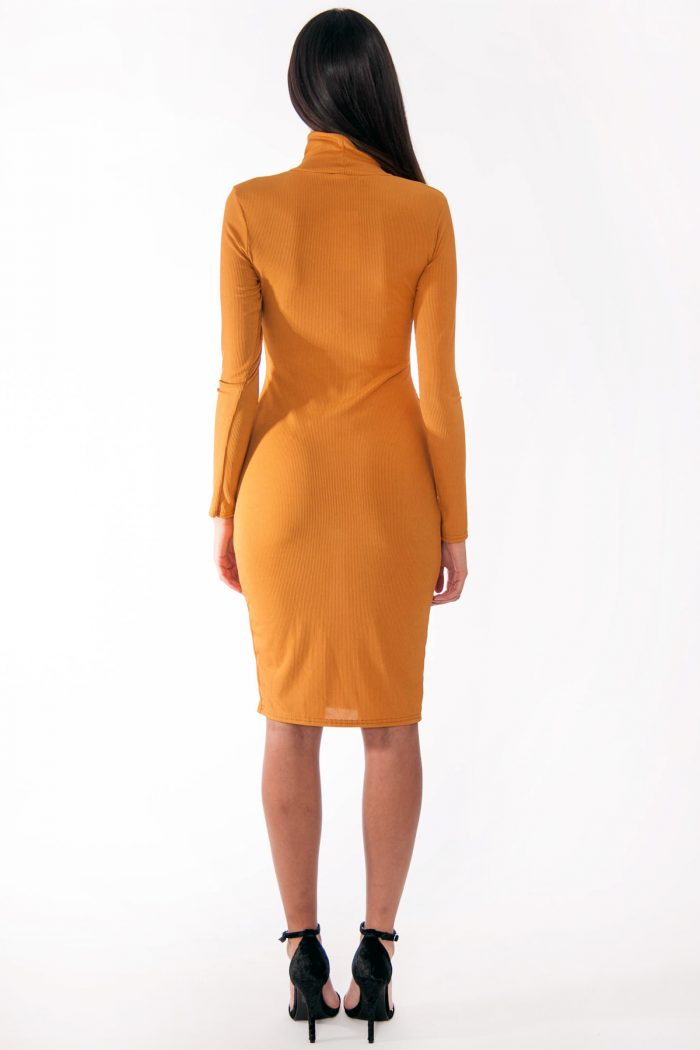 Ren Mustard Ribbed High Neck Popper Detail Midi Dress