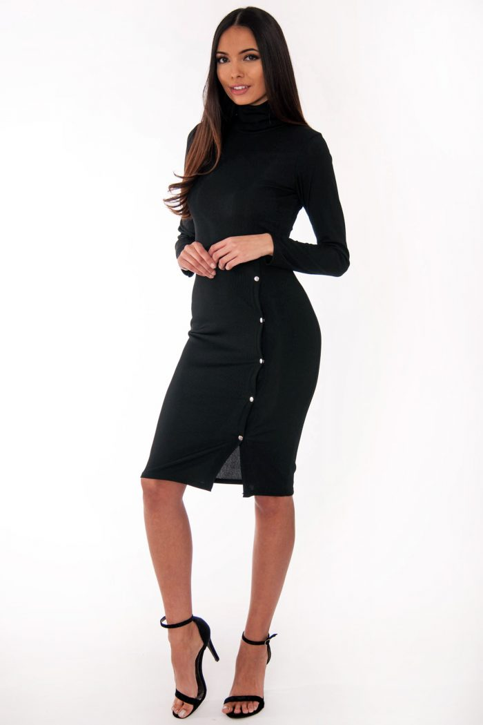 Ren Black Ribbed High Neck Popper Detail Midi Dres