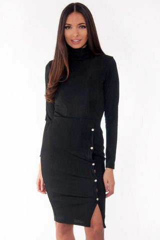 Ren Black Ribbed High Neck Popper Detail Midi Dress
