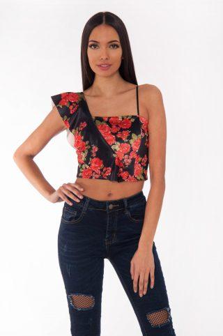 Black Floral Velvet One Shoulder Crop Top