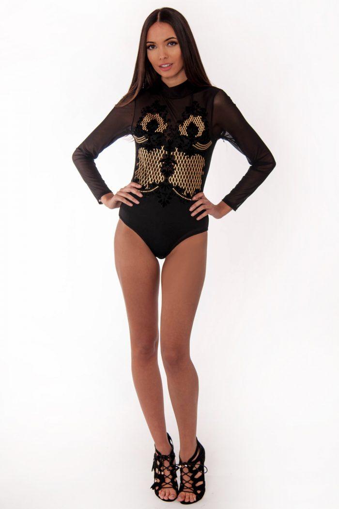 Raven Black Mesh Gold Beaded Bodysuit