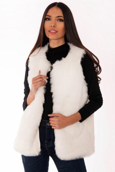 Georgia White Faux Fur Gilet