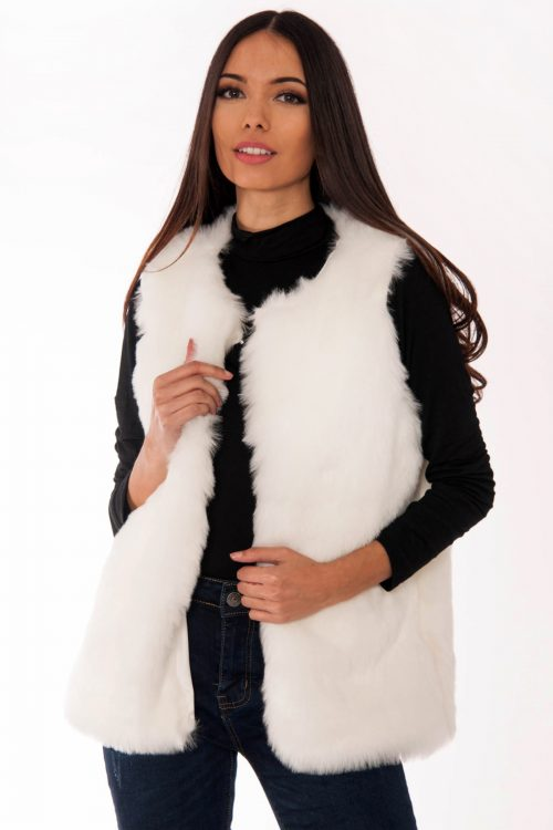 Georgia White Faux Fur Gilet