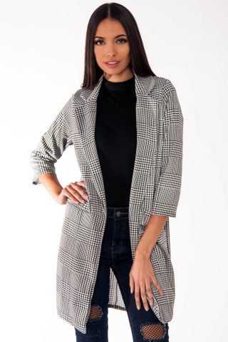 Maddie Long Black And White Gingham Check Coat