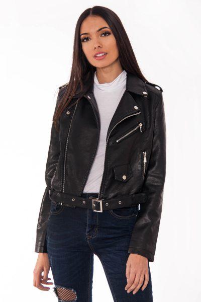 Faux Leather Black Biker Jacket