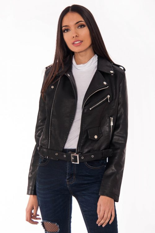 Faux Leather Black Biker Jacket