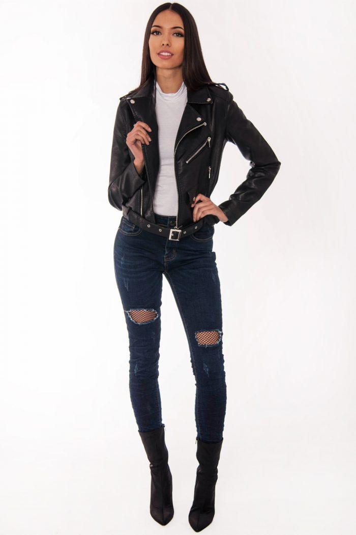 Lisa Faux Suede Black Biker Jacket