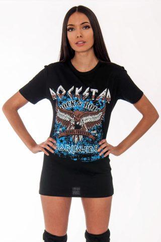 Remi Black Rockstar Slogan T-Shirt