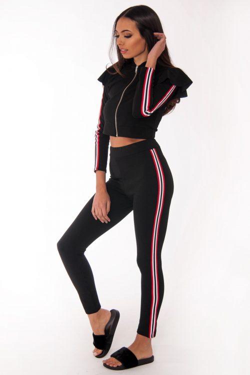 Mel Black Side Stripe Loungewear Set