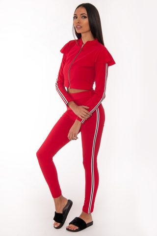 Mel Red Side Stripe Loungewear Set