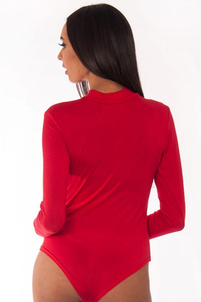 Davina Red Polo Neck Bodysuit