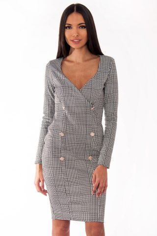 Hannah Black And White Gingham Bodycon Midi Dress