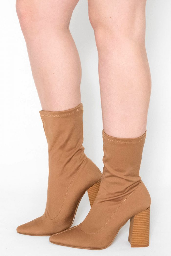 Maaria Tan Lycra Pointed Ankle Boots