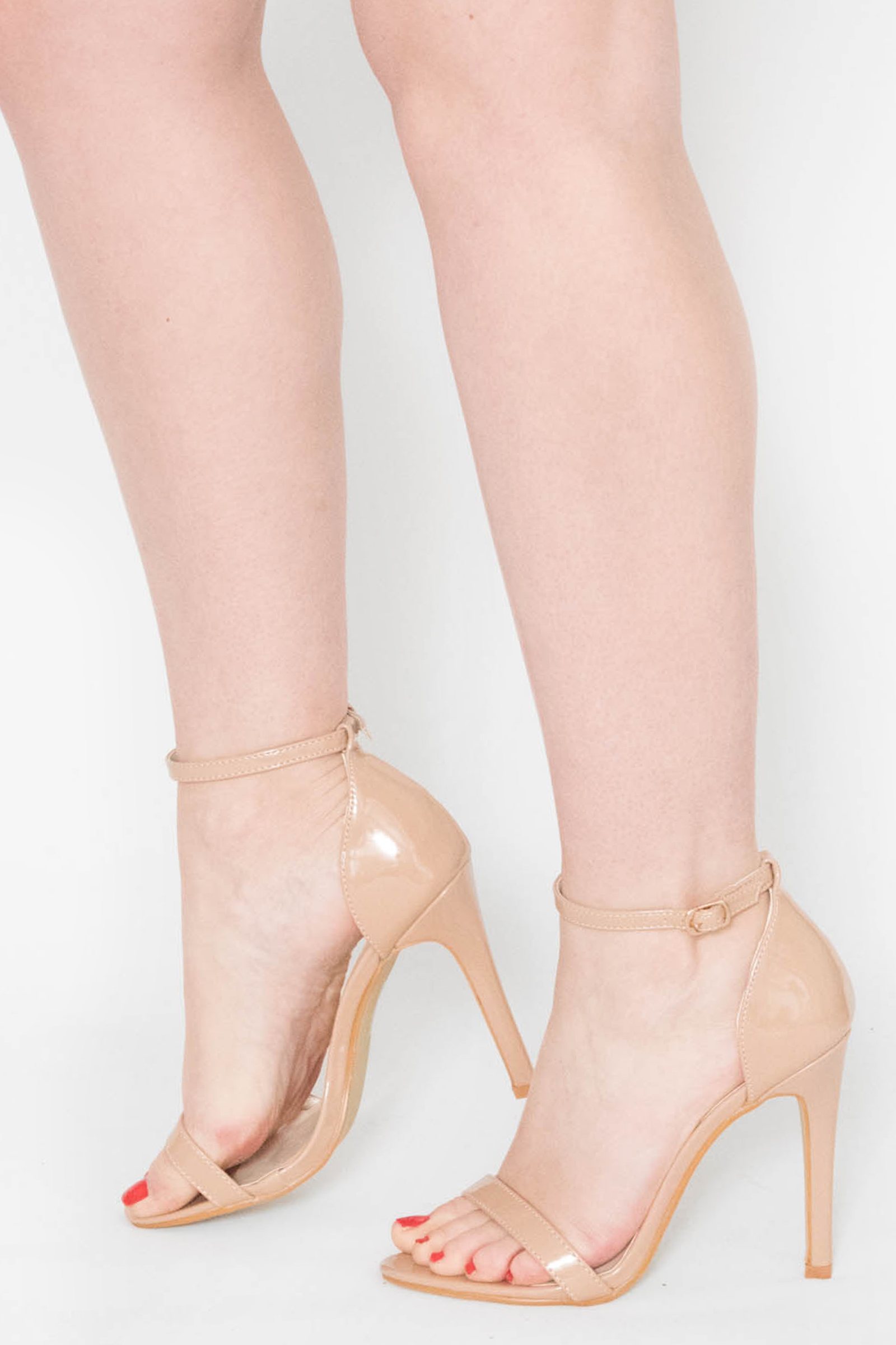 4a3b90112e2 Fleur Nude Patent Barely There Heels