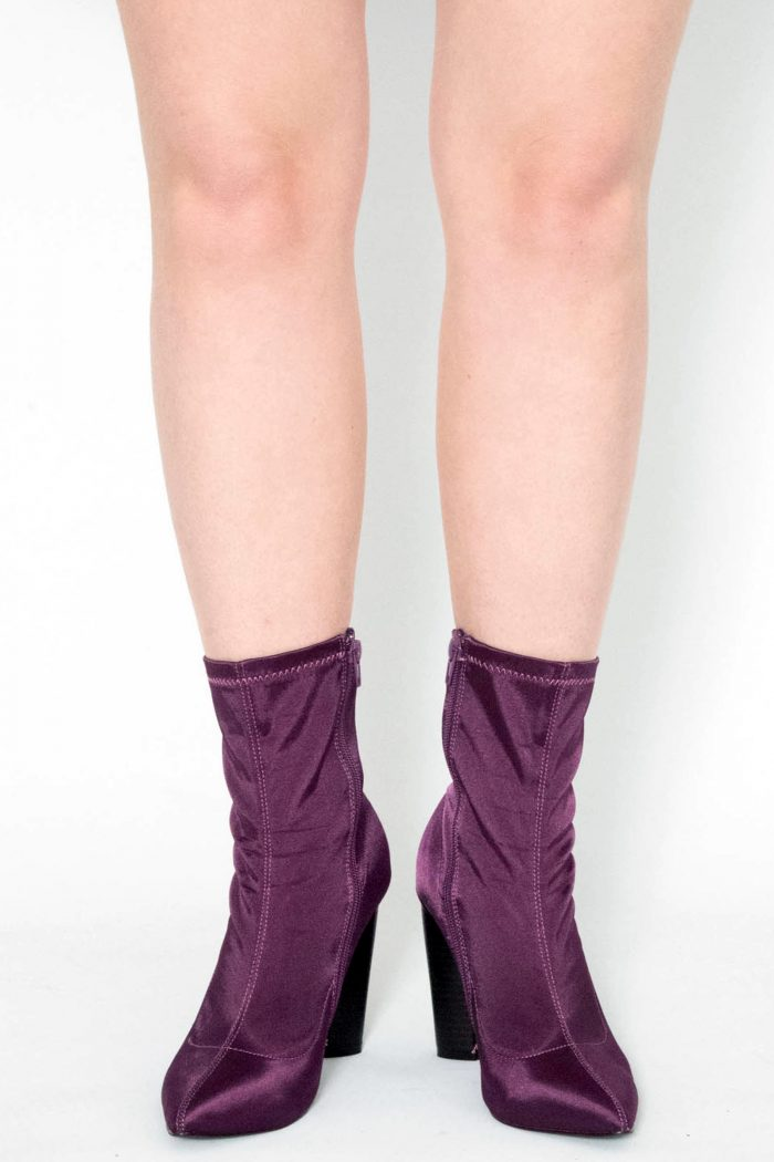 Laure Purple Satin Lycra Ankle Boots