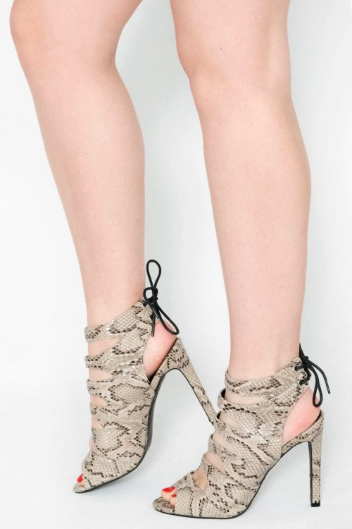 Morgan Cream Snake Print Tie Up Heels