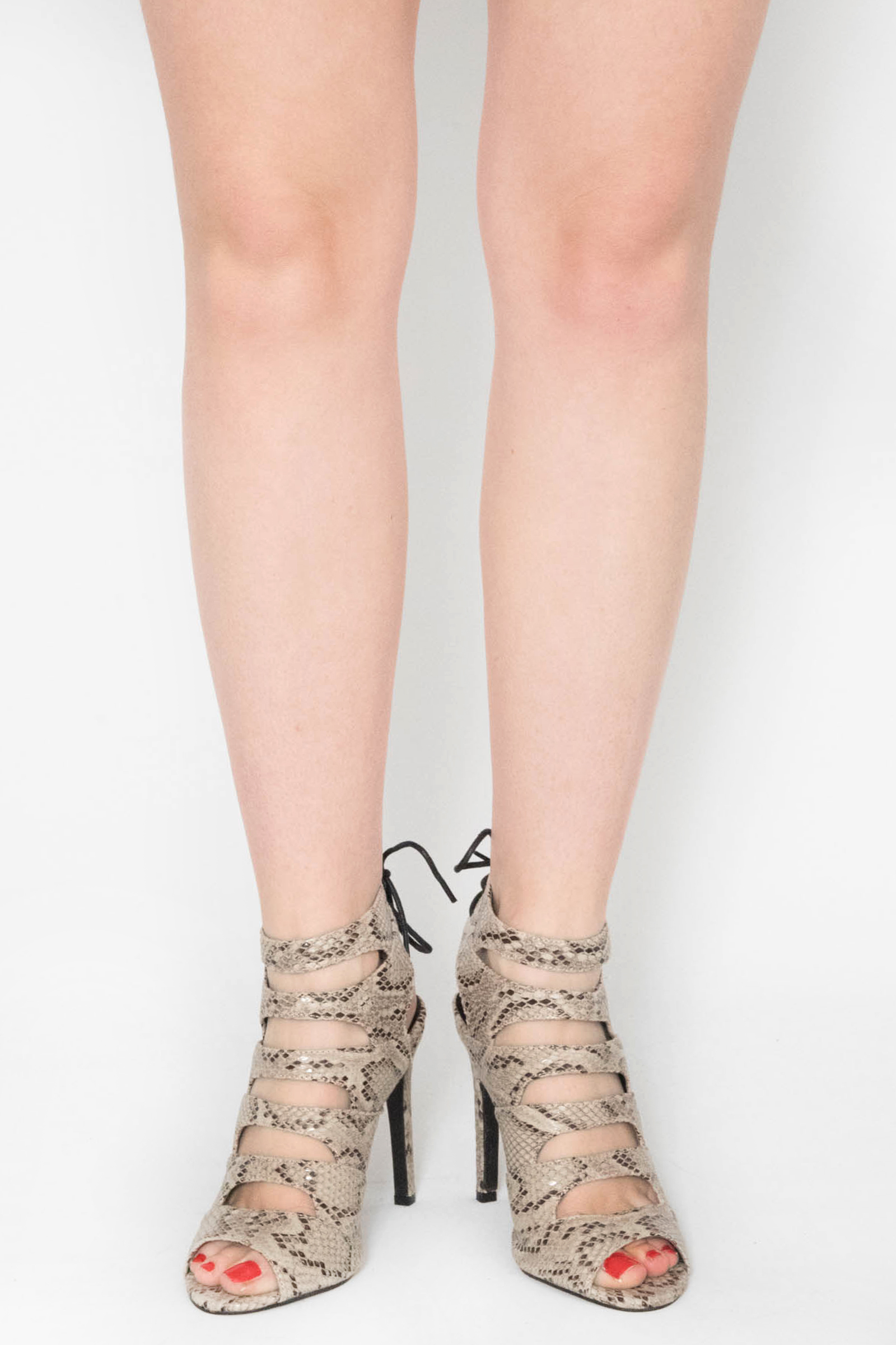 fabd4001b3 Morgan Cream Snake Print Tie Up Heels | Shoes | Modamore
