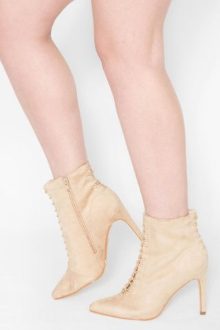 Vara Stone Suede Stiletto Ankle Boots