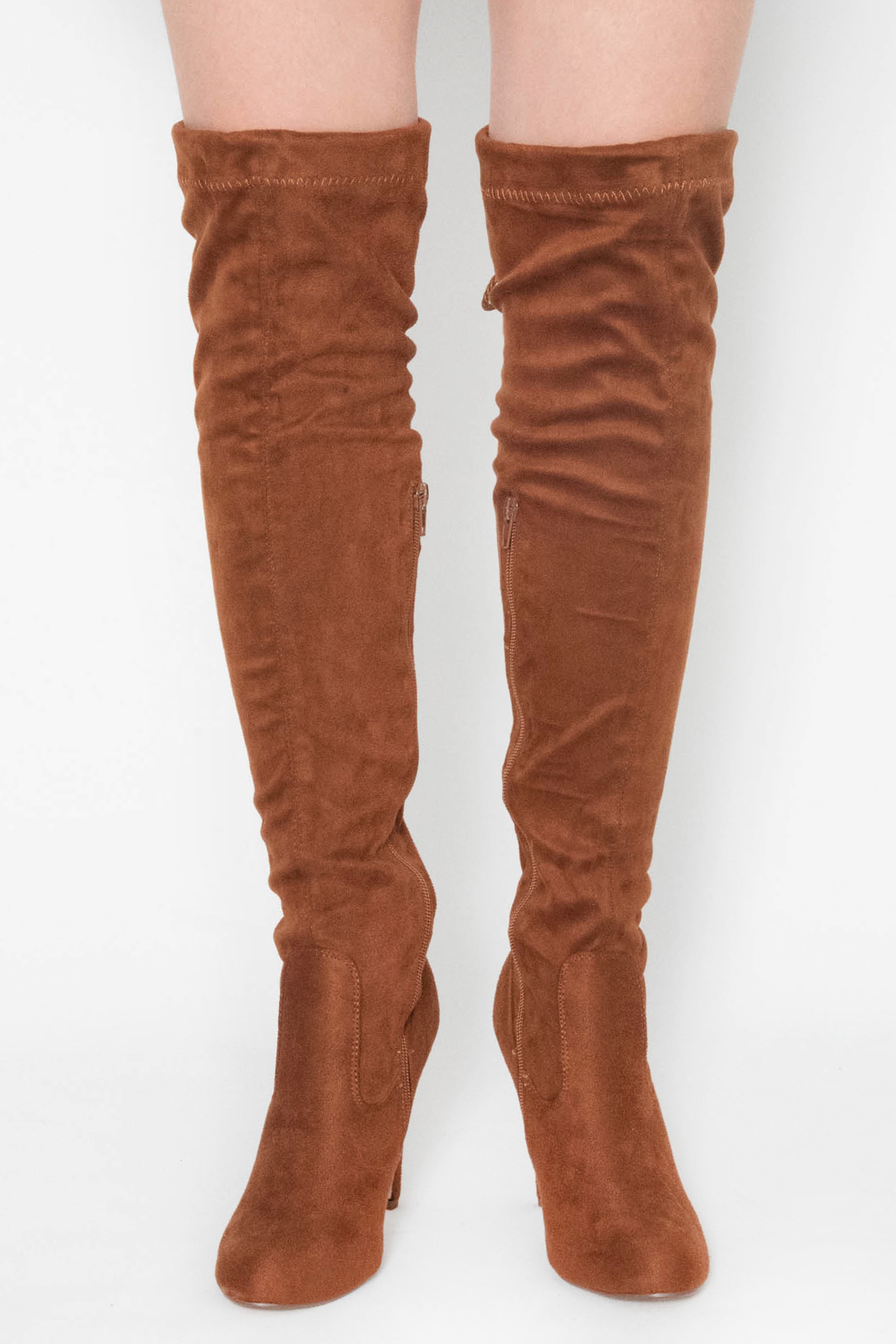 bcf2cf6baba Anna Tan Faux Suede Over The Knee Boots