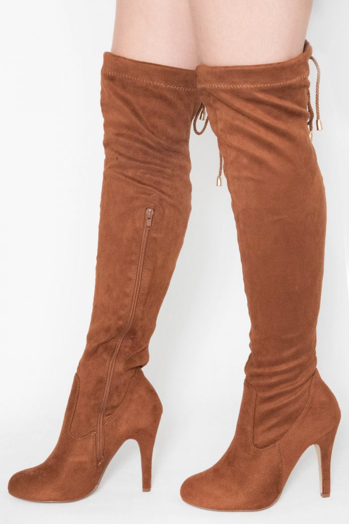 Anna Tan Faux Suede Over The Knee Boots