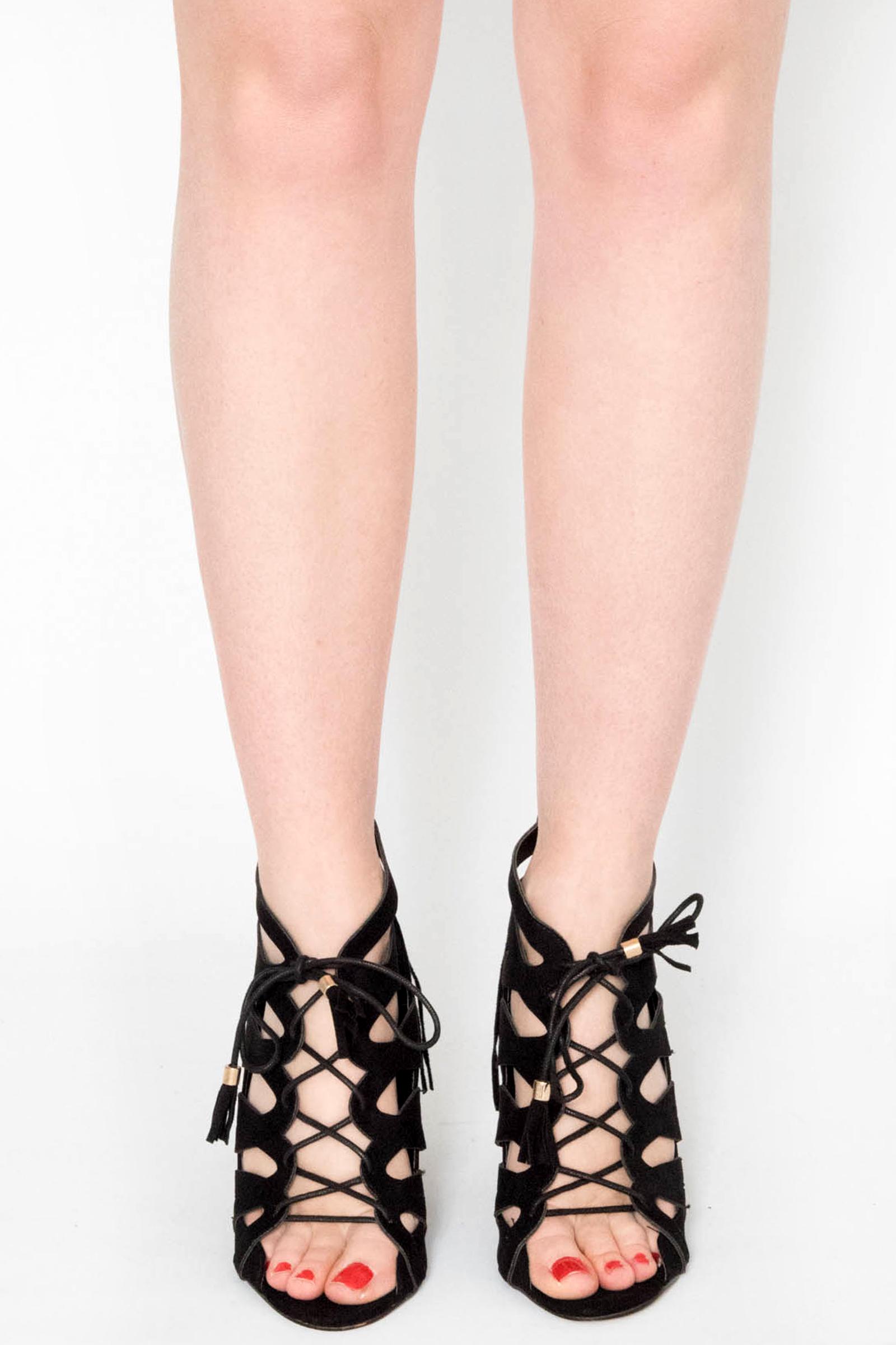 739a684125 Lara Black Faux Suede Lace Up Heels | Shoes | Modamore